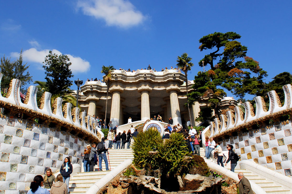Pavilion decorated with mosaic in Park Guell, Barcelona