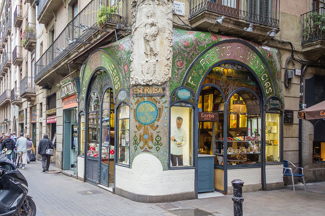 Antique pastry shop in the Ramblas, Barcelona, Spain